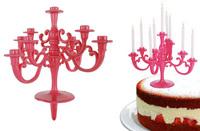 Pink lysestage til kagen med 9 lys